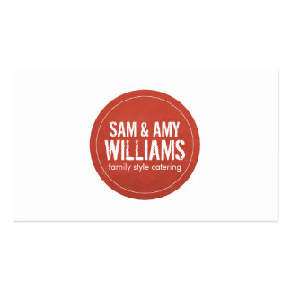 Rustic Red Circle Logo for Catering, Bakery Pack Of Standard Business Cards