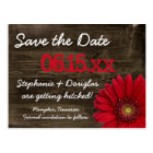 Rustic Red Daisy Wood Save The Date Postcards