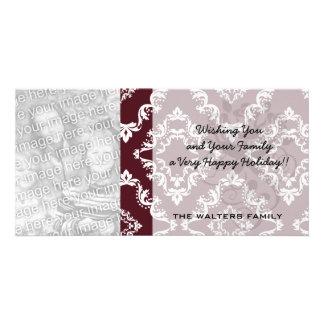 rustic red diamond damask pattern design photo greeting card