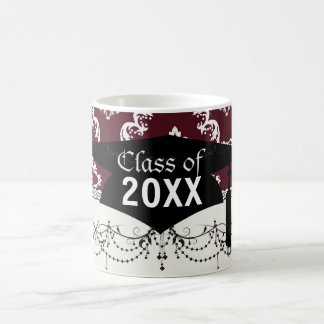 rustic red diamond damask pattern graduation basic white mug