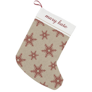 Rustic Red Faux Burlap Snowflake Pattern Small Christmas Stocking