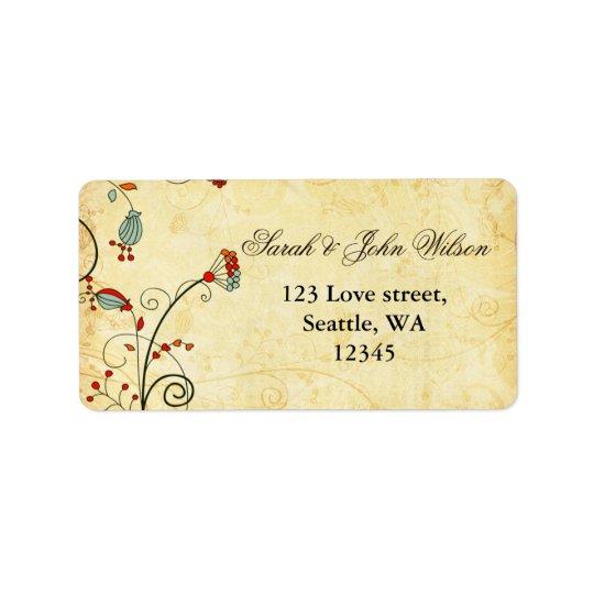 rustic  red floral ,return address label