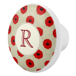 Rustic Red  Flowers Pattern Ceramic Knob