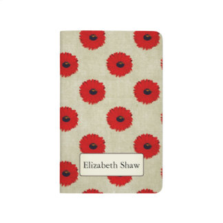 Rustic Red  Flowers Pattern Journal