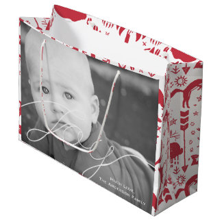 Rustic Red Fox Pattern Christmas Family Photos Large Gift Bag