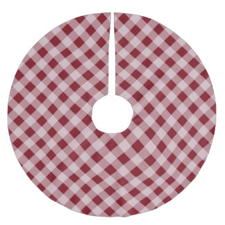 Rustic Red Gingham Country Christmas Tree Skirt Brushed Polyester Tree Skirt