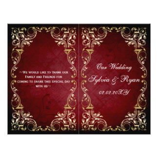 Rustic red gold regal bookfold Wedding program Personalized Flyer