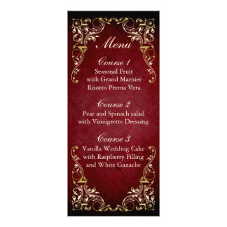 rustic red gold regal wedding menu