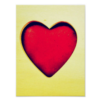 Rustic Red Heart Valentine s Day Love Print