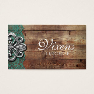 Rustic Red Lace Lingerie Store Business Card