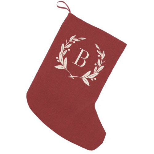 Rustic Red Laurel Wreath Monogram Small Christmas Stocking