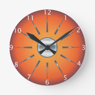 Rustic Red Orange Wall Clock