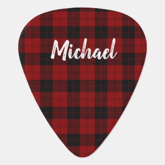 Rustic Red Plaid Brush Handwritten Script Plectrum