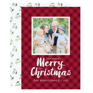 Rustic Red Plaid Christmas Card Template