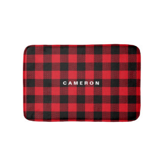 Rustic Red Plaid Pattern Holiday Personalized Bath Mat