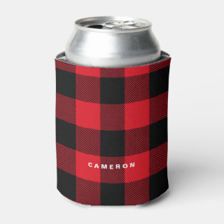 Rustic Red Plaid Pattern Holiday Personalized Can Cooler