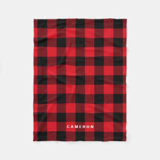 Rustic Red Plaid Pattern Holiday Personalized Fleece Blanket