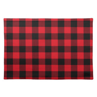 Rustic Red Plaid Pattern Holiday Placemat