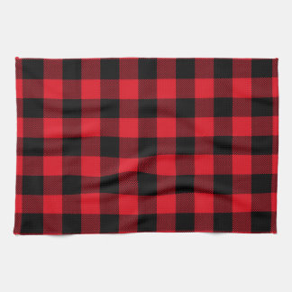Rustic Red Plaid Pattern Holiday Tea Towel