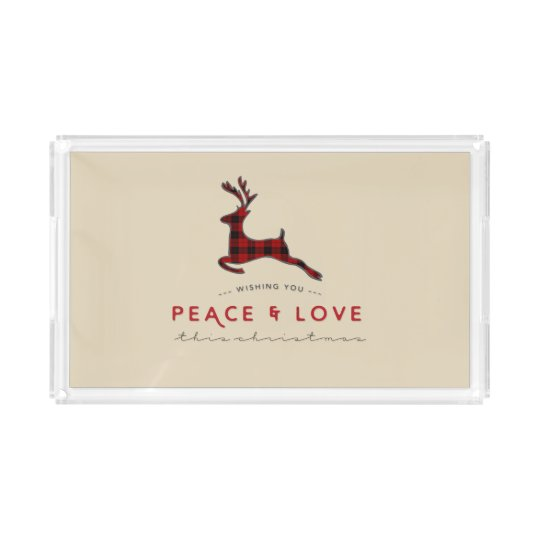Rustic Red Plaid Reindeer Peace & Love Christmas Acrylic Tray