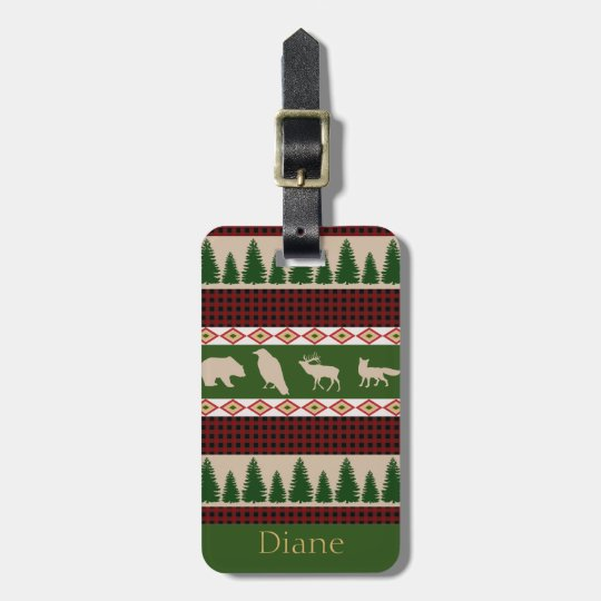 Rustic Red Plaid & Woodland Animals Personalised Luggage Tag