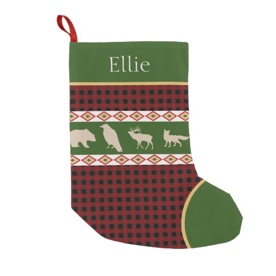 Rustic Red Plaid Woodland Animals Personalised Small Christmas Stocking