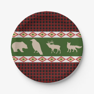Rustic Red Plaid Woodland Christmas Holiday Paper Plate
