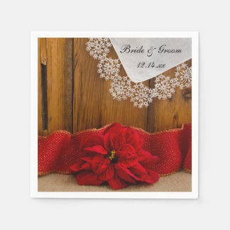 Rustic Red Poinsettia Country Winter Wedding Paper Napkin