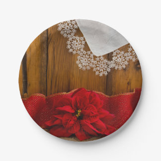 Rustic Red Poinsettia Country Winter Wedding Paper Plate