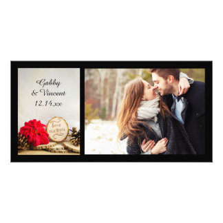 Rustic Red Poinsettia Winter Wedding Save the Date Photo Card Template