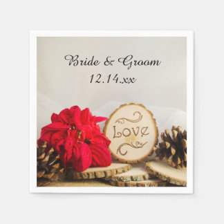 Rustic Red Poinsettia Woodland Winter Wedding Disposable Napkins