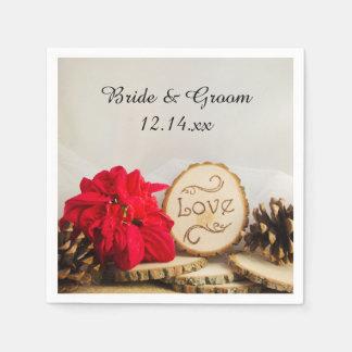 Rustic Red Poinsettia Woodland Winter Wedding Disposable Serviette