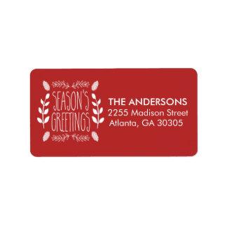 Rustic Red Season's Greetings Return Address Address Label
