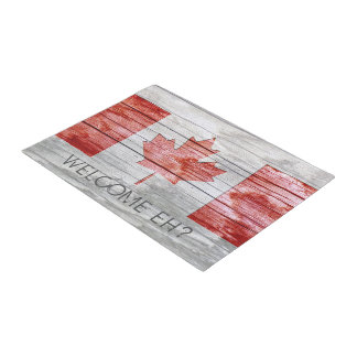 Rustic Red Stain Canada Flag Maple Leaf Grey Wood Doormat