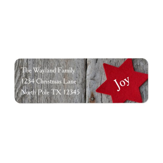 Rustic Red Star Address Labels