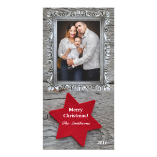 Rustic Red Star Vertical Photo Holiday Card Photo Card