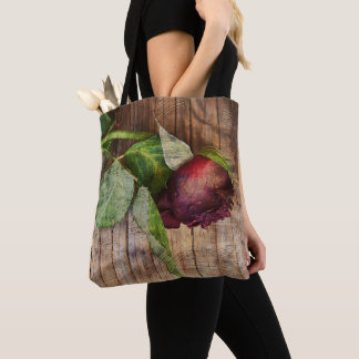Rustic Red Textured Grunge Rose On Wood Tote Bag