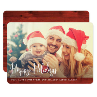 Rustic Red Wood | Happy Holidays with Photo Card