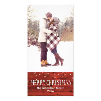 Rustic Red Wood in Snow | Merry Christmas Picture Card