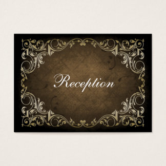 Rustic Regal Ornamental Brown And Gold Wedding Business Card