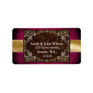 Rustic Regal Ornamental Fuchsia And Gold Wedding Address Label