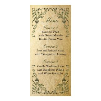 Rustic Regal Ornamental Green And Gold Wedding Rack Card