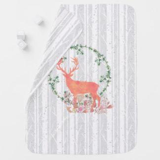 Rustic Reindeer Boho Watercolor Baby Blanket