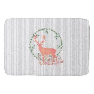 Rustic Reindeer Boho Watercolor Bath Mat