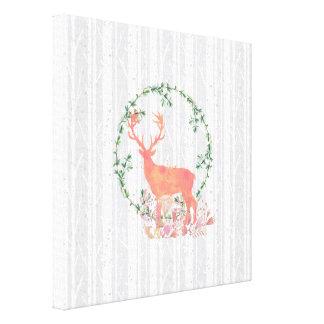 Rustic Reindeer Boho Watercolor Canvas Print