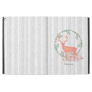 "Rustic Reindeer Boho Watercolor Custom iPad Pro 12.9"" Case"