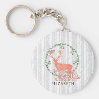 Rustic Reindeer Boho Watercolor Custom Key Ring