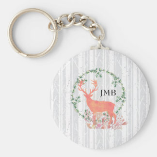 Rustic Reindeer Boho Watercolor Custom Monogram Key Ring