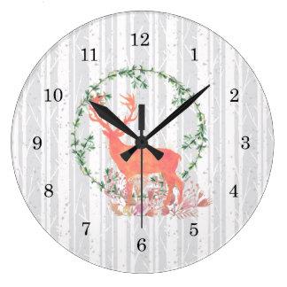 Rustic Reindeer Boho Watercolor Large Clock
