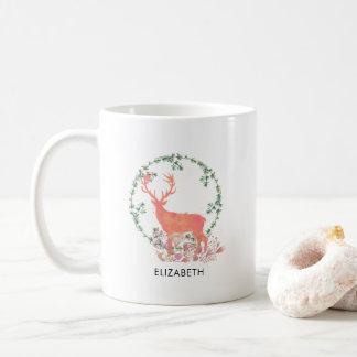 Rustic Reindeer Boho Watercolor Personalized Coffee Mug